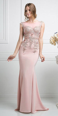 Cinderella Divine 35 Illusion Bateau Neck Embroidered Bodice Blush Floor Length Prom Dress