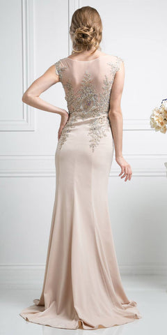 Cinderella Divine 35 Illusion Bateau Neck Embroidered Bodice Champagne Floor Length Prom Dress