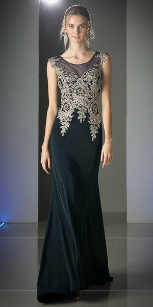 Cinderella Divine 35 Illusion Bateau Neck Embroidered Bodice Navy Blue Floor Length Prom Dress