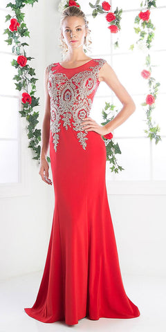 Cinderella Divine 35 Illusion Bateau Neck Embroidered Bodice Red Floor Length Prom Dress