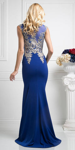 Cinderella Divine 35 Illusion Bateau Neck Embroidered Bodice Royal Blue Floor Length Prom Dress