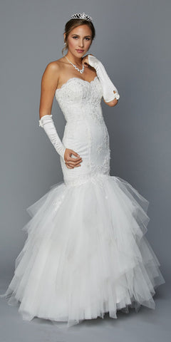 Juliet 350W Strapless Ivory Wedding Gown Layered Mermaid Style