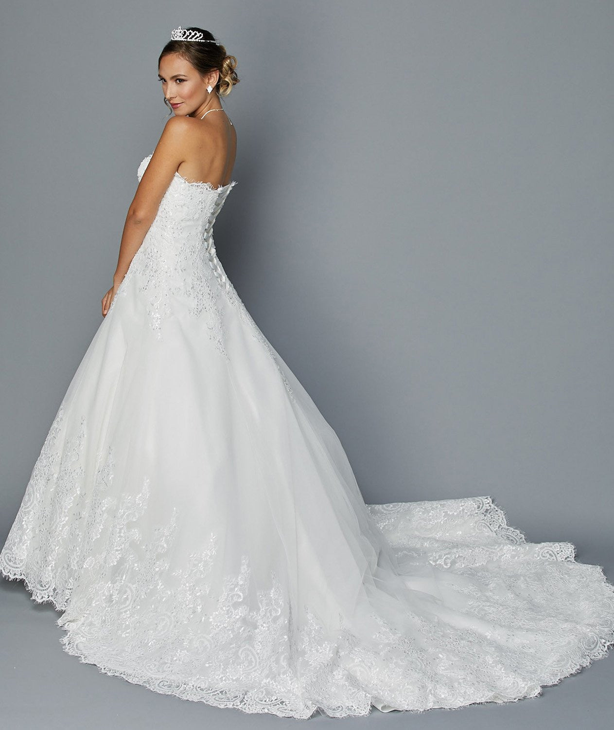 Juliet 351 White Strapless Embroidered Wedding Gown with Chapel ...