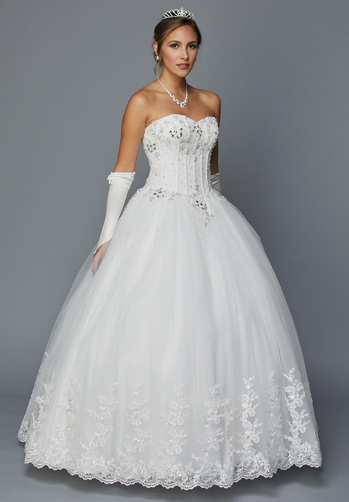 Juliet 352 Jewel Bodice Strapless Ball Gown Wedding Dress White