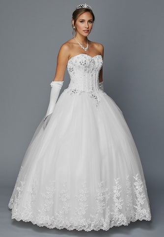 Juliet 351W Jewel Bodice Strapless Ball Gown Wedding Dress White