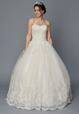Juliet 353W Sweetheart Neckline Champagne Strapless Wedding Gown