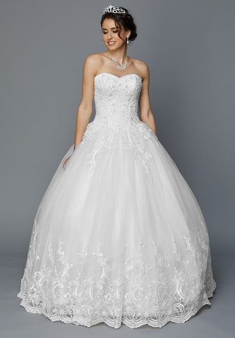 Juliet 353W Sweetheart Neckline White Strapless Wedding Gown
