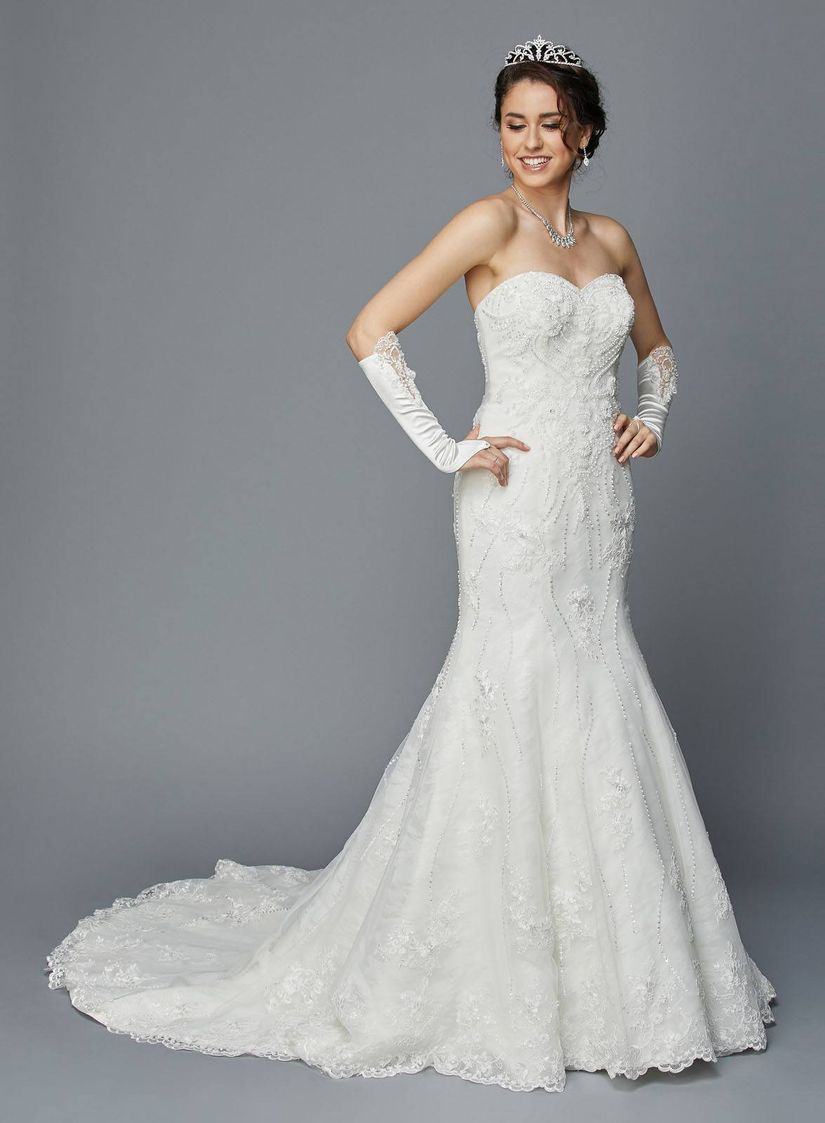 Juliet 354 Ivory Strapless Lace Wedding Gown Beaded with Court Train ...