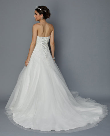 Juliet 355W Embellished Bodice Strapless Wedding Gown Ivory