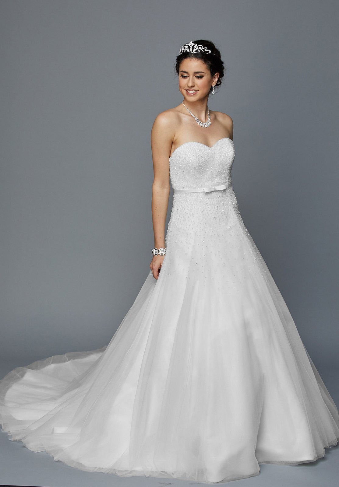 Juliet 355 Embellished Bodice Strapless Wedding Gown Ivory ...