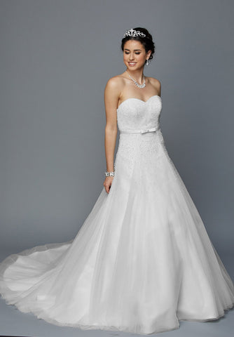 Juliet 355W Embellished Bodice Strapless Wedding Gown White