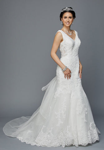 Juliet 356W Fit and Flare V-Neck Sleeveless Wedding Dress Ivory