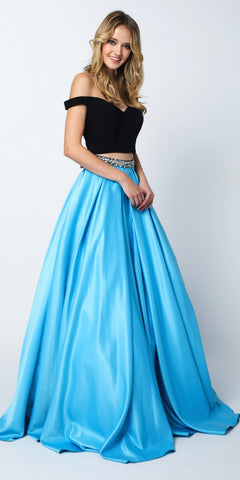 Turquoise Two-Piece Long Prom Gown Off Shoulder Crop Top Embellished Waist