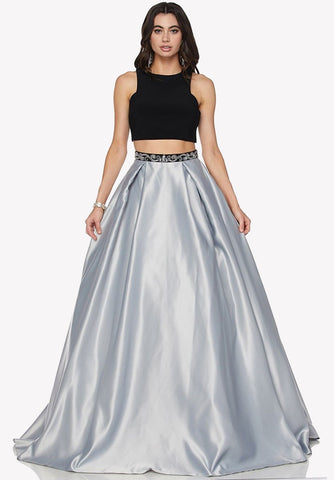 Bead Embroidered Back Two-Piece Prom Gown High Neckline Silver