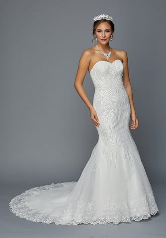 Juliet 359W Sequins Embellished Mermaid Style Wedding Dress Ivory