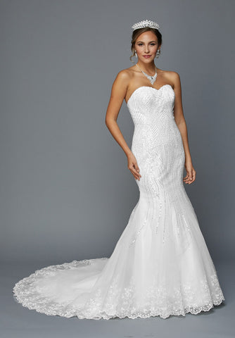 Juliet 359W Sequins Embellished Mermaid Style Wedding Dress White