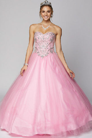 Juliet 361 Sweetheart Neckline Embellished Bodice Quinceanera Dress Light Pink