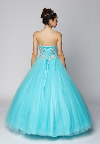 Juliet 361 Sweetheart Neckline Embellished Bodice Quinceanera Dress Turquoise