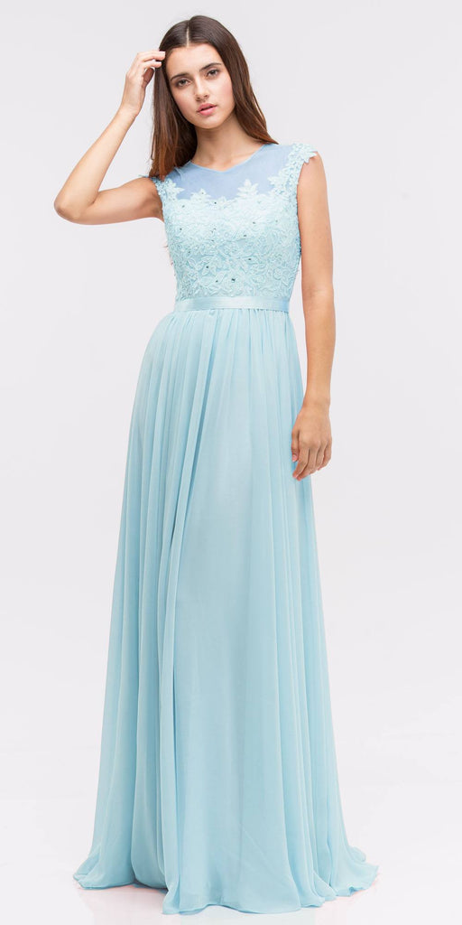 Lace Illusion Bodice Bateau Neck A-line Long Dress Baby Blue