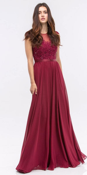 Lace Illusion Bodice Bateau Neck A-line Long Dress Burgundy 2