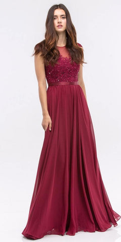 CLEARANCE - Sexy Long Red Prom Dress Open Front Slit Cross Back Beaded Waist (Size XL)