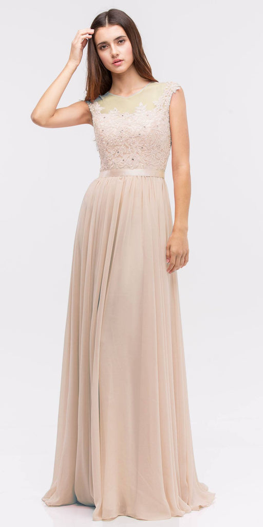 Lace Illusion Bodice Bateau Neck A-line Long Dress Champagne