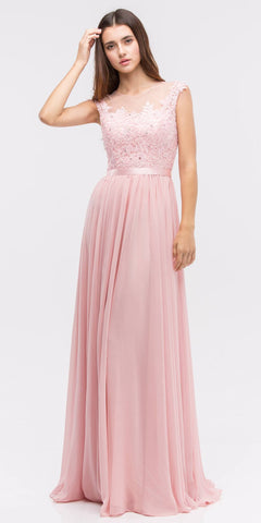 9c1e36c7981 Lace Illusion Bodice Bateau Neck A-line Long Dress Dusty-Pink