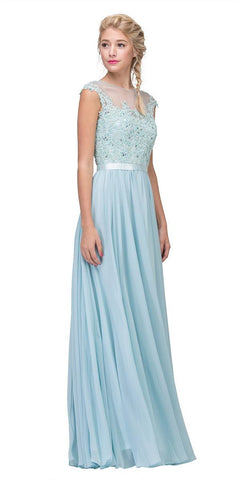 Eureka Fashion 3611 Lace Illusion Bodice Bateau Neck A-line Long Dress Baby Blue