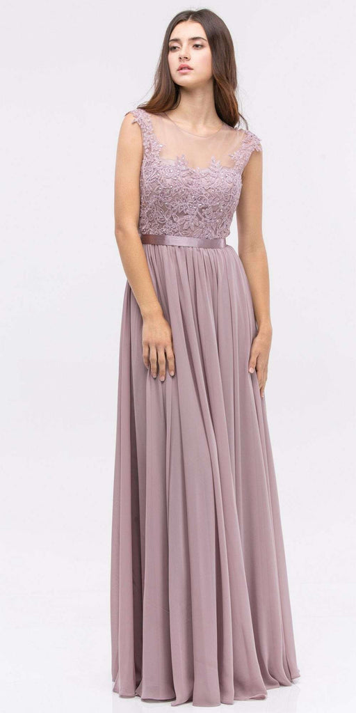 Lace Illusion Bodice Bateau Neck A-line Long Dress Mocha