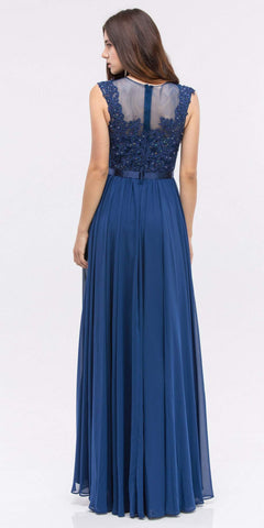 Lace Illusion Bodice Bateau Neck A-line Long Dress Navy Blue Back