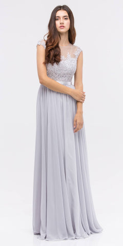Lace Illusion Bodice Bateau Neck A-line Long Dress Silver