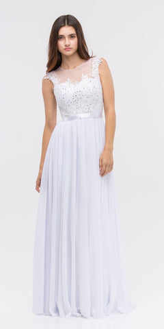 Lace Illusion Bodice Bateau Neck A-line Long Dress White
