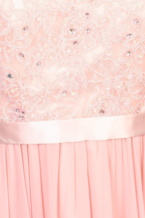 Lace Illusion Bodice Bateau Neck A-line Long Dress Dusty-Pink Zoom
