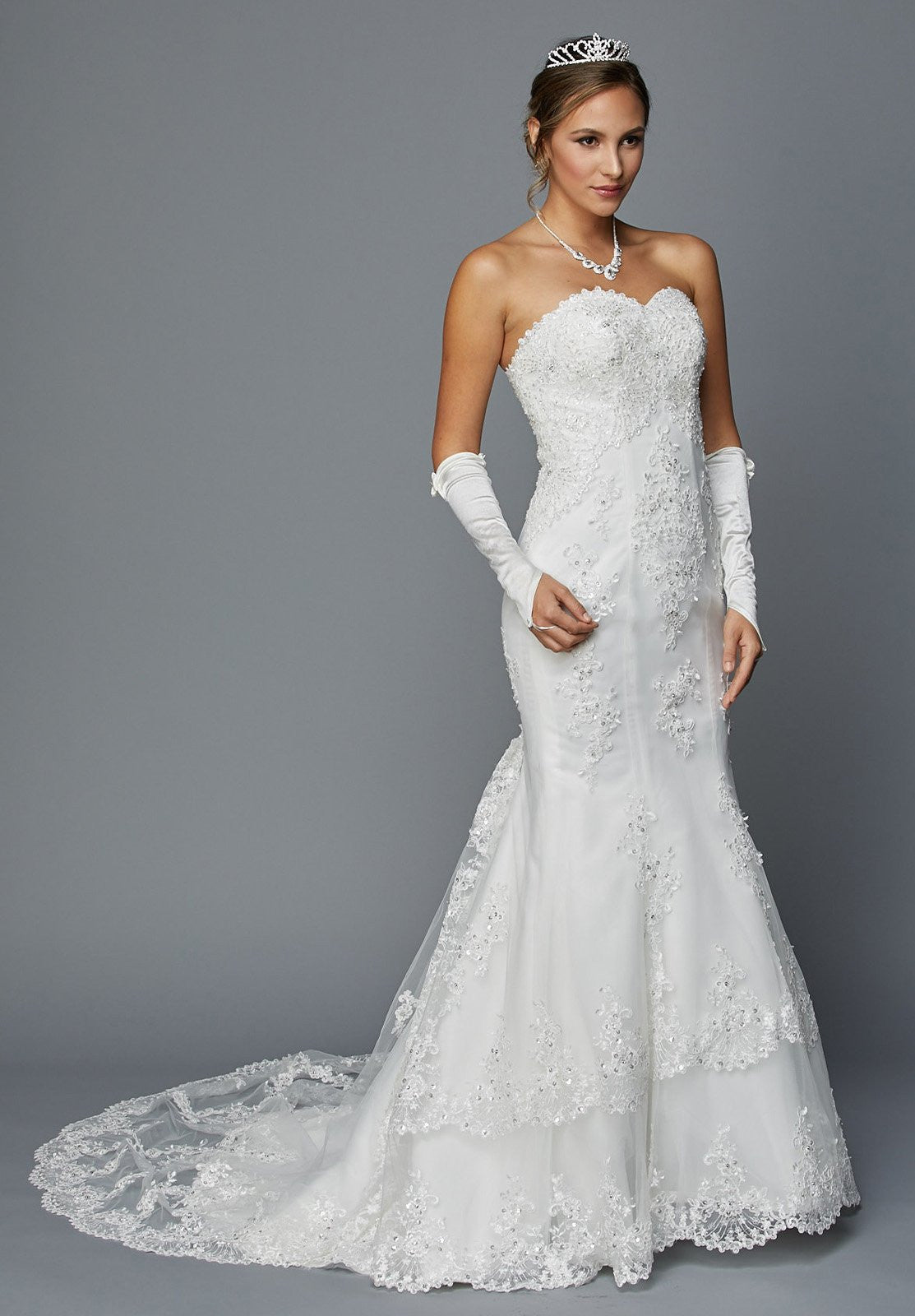 Juliet 362 ivory embroidered strapless mermaid style for Wedding dress strap styles