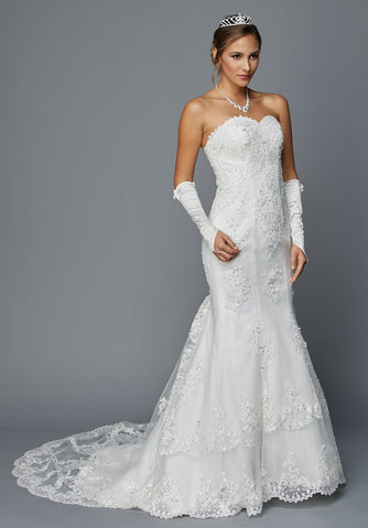 Juliet 362 Ivory Embroidered Strapless Mermaid Style Wedding Dress
