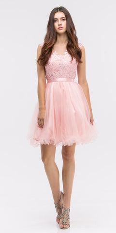Dusty Pink Cap Sleeve Lace Applique Bodice Homecoming Dress Short