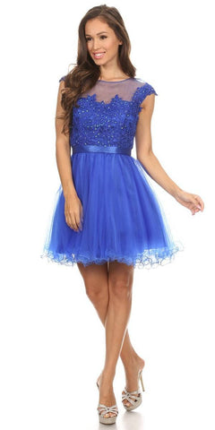Royal Blue Cap Sleeve Lace Applique Bodice Homecoming Dress Short