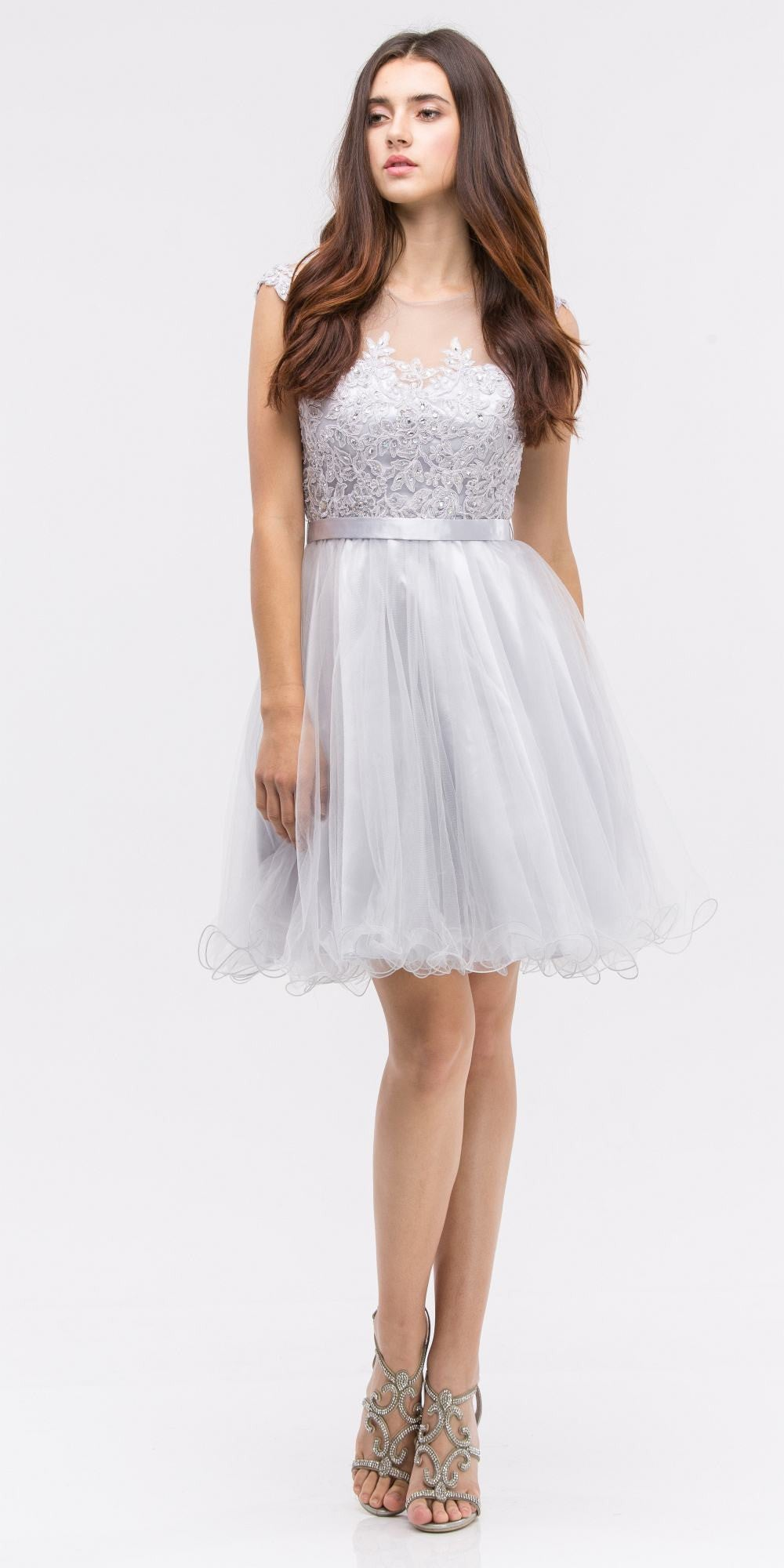 Silver Cap Sleeve Lace Applique Bodice Homecoming Dress Short