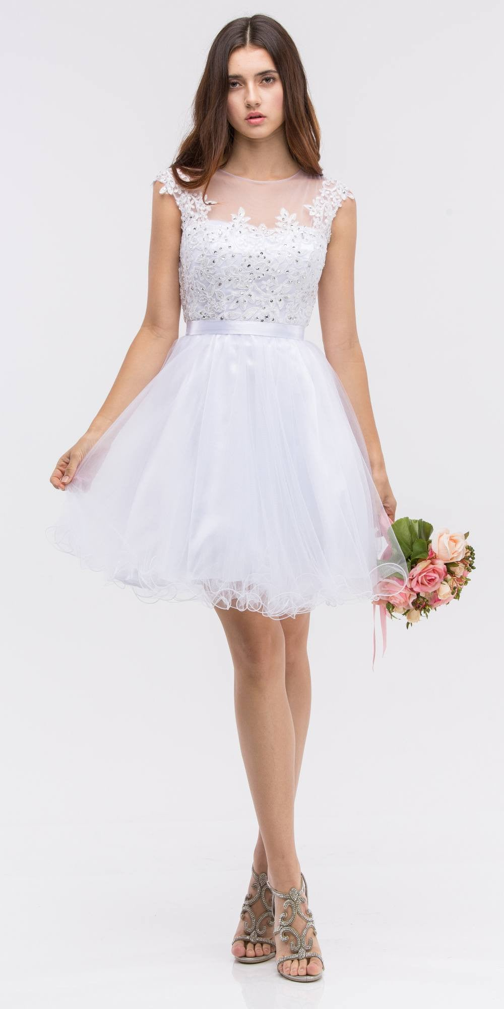 White Cap Sleeve Lace Applique Bodice Homecoming Dress Short