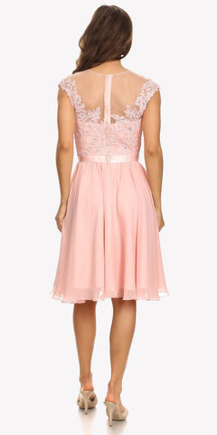 Appliqued Bodice Wedding Guest A-Line Dress Knee-Length Dusty Pink