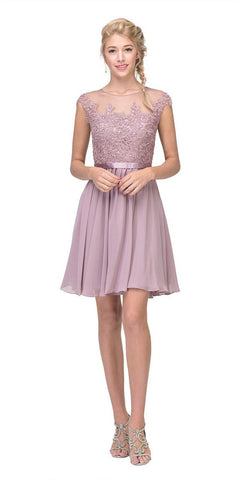 Eureka Fashion 3633 Appliqued Bodice Wedding Guest A-Line Dress Knee-Length Mocha