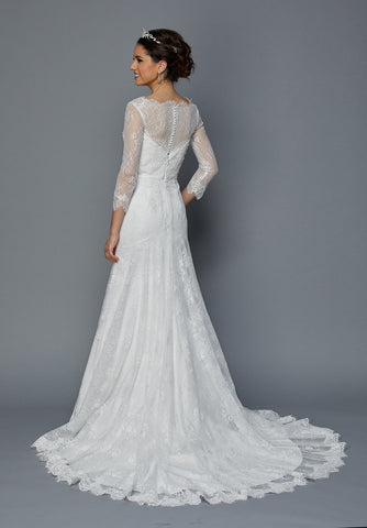 Juliet 364W Quarter Sleeves Fit and Flare Wedding Dress Ivory Lace