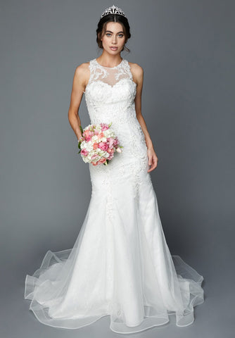 Illusion Mermaid-Style Wedding Gown Sleeveless with Train White