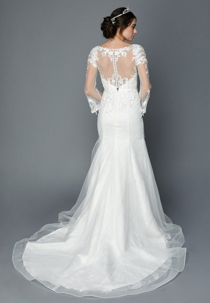 White Long Sleeves Illusion Wedding Gown Mermaid-Style with Appliques