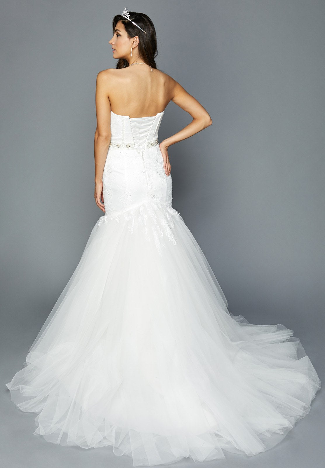 Strapless White Wedding Gown Beaded Bodice and Waist Trumpet Style ...