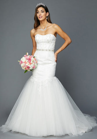 Strapless White Wedding Gown Beaded Bodice and Waist Trumpet Style