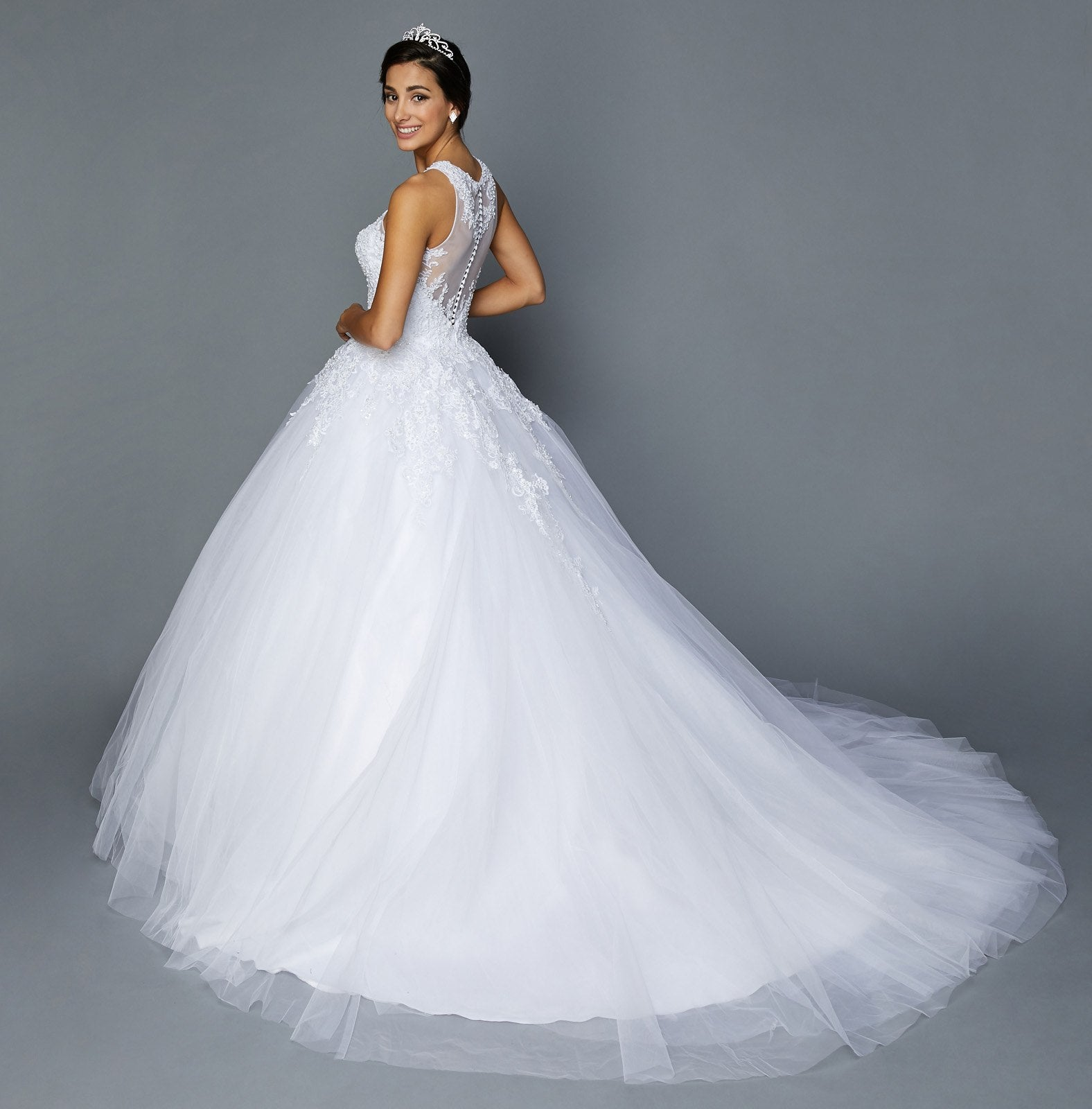 White Halter Illusion Wedding Ball Gown Sleeveless with Appliques ...