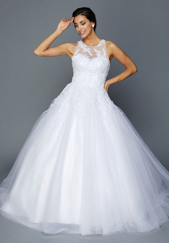 White Halter Illusion Wedding Ball Gown Sleeveless with Appliques and Train