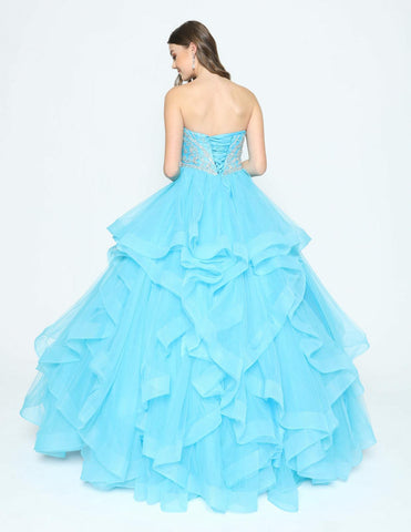 Turquoise Strapless Tiered Quinceanera Dress Beaded