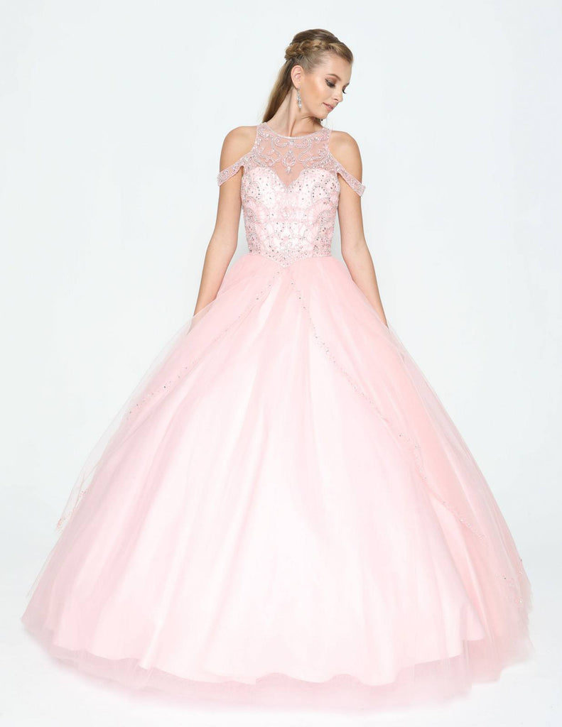 Illusion Cold-Shoulder Quinceanera Gown Cut-Out Back Blush